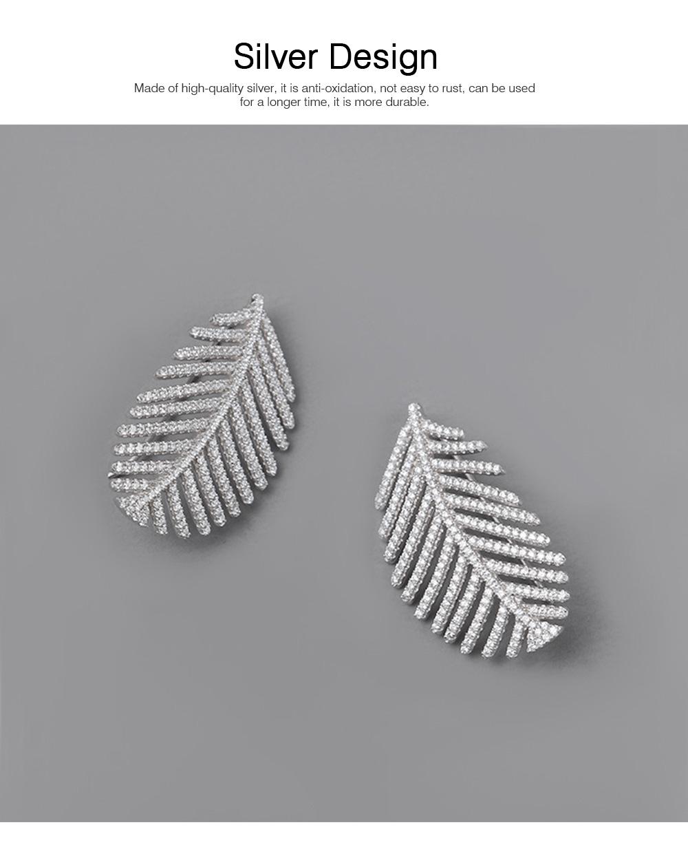 Sparkling Diamond Leaves Stud Earring 925 Pure Silver Simple Little Fresh Sweet Earrings Korean Design Stud 2019 New Earrings 1