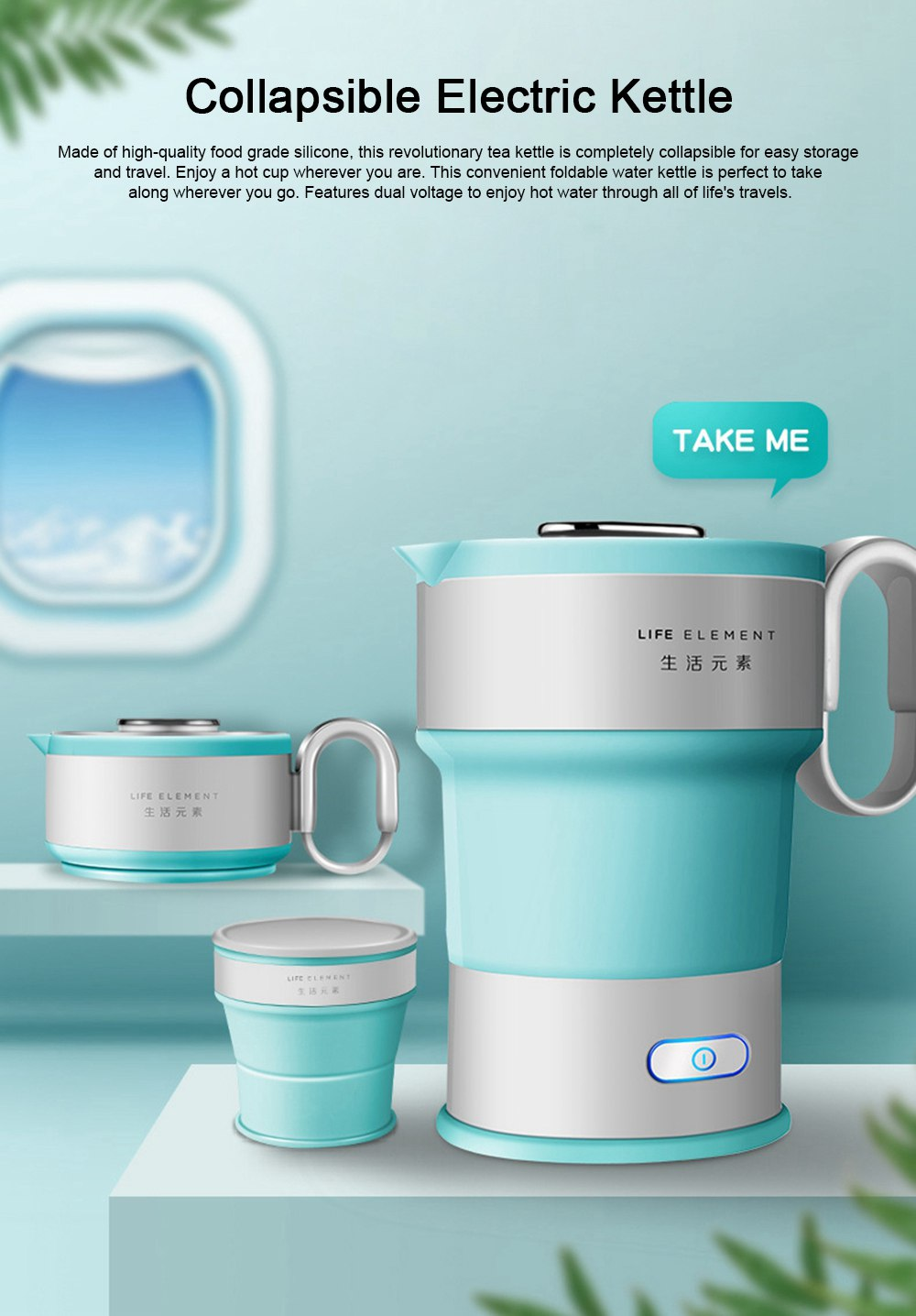 Portable Electric Compressed Kettle, Food Grade Silicone Collapsible Electric Kettle for Travel 0