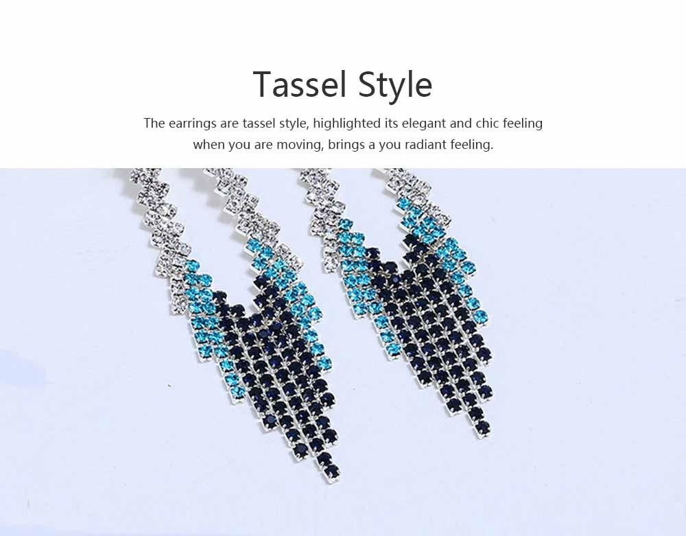 Women Tassel Earring Zinc Alloy Material Decoration Diamond Setting Process Jewelry Allergy-resistant Ear Pendant 3
