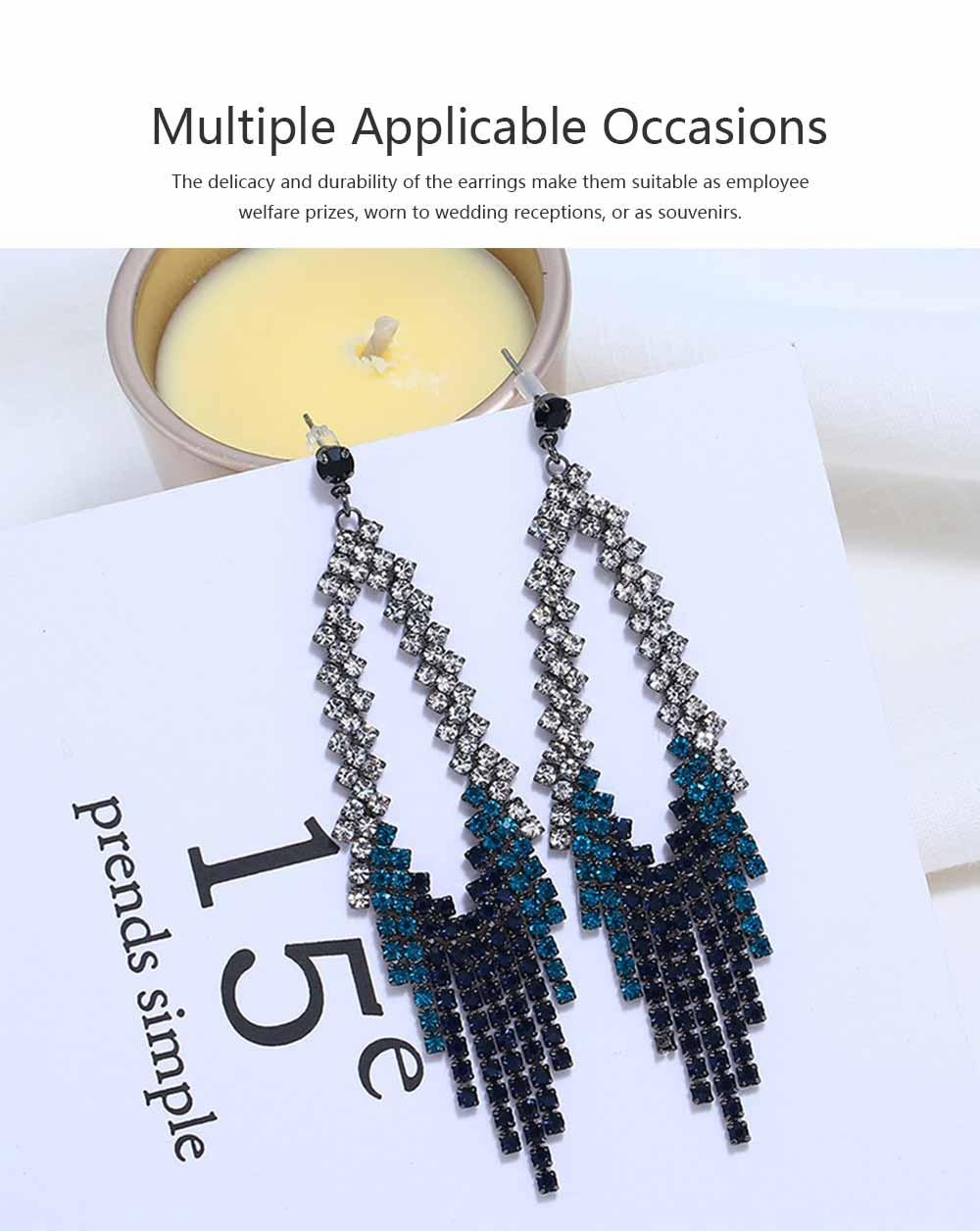 Women Tassel Earring Zinc Alloy Material Decoration Diamond Setting Process Jewelry Allergy-resistant Ear Pendant 5
