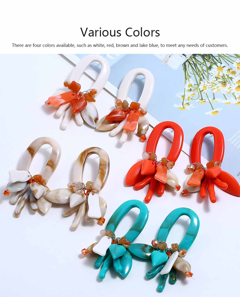 Coral Shell Earrings Plastics Zinc Alloy Material Ear Pendant Exaggerated Style Fashionable Ear Stud 3