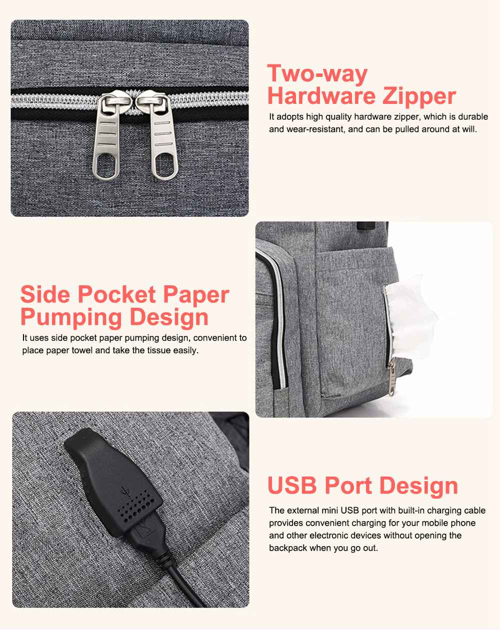 Multi-functional Diaper Backpack Large Soft Durable Capacity Backpack with USB Port for Mom & Dad 8