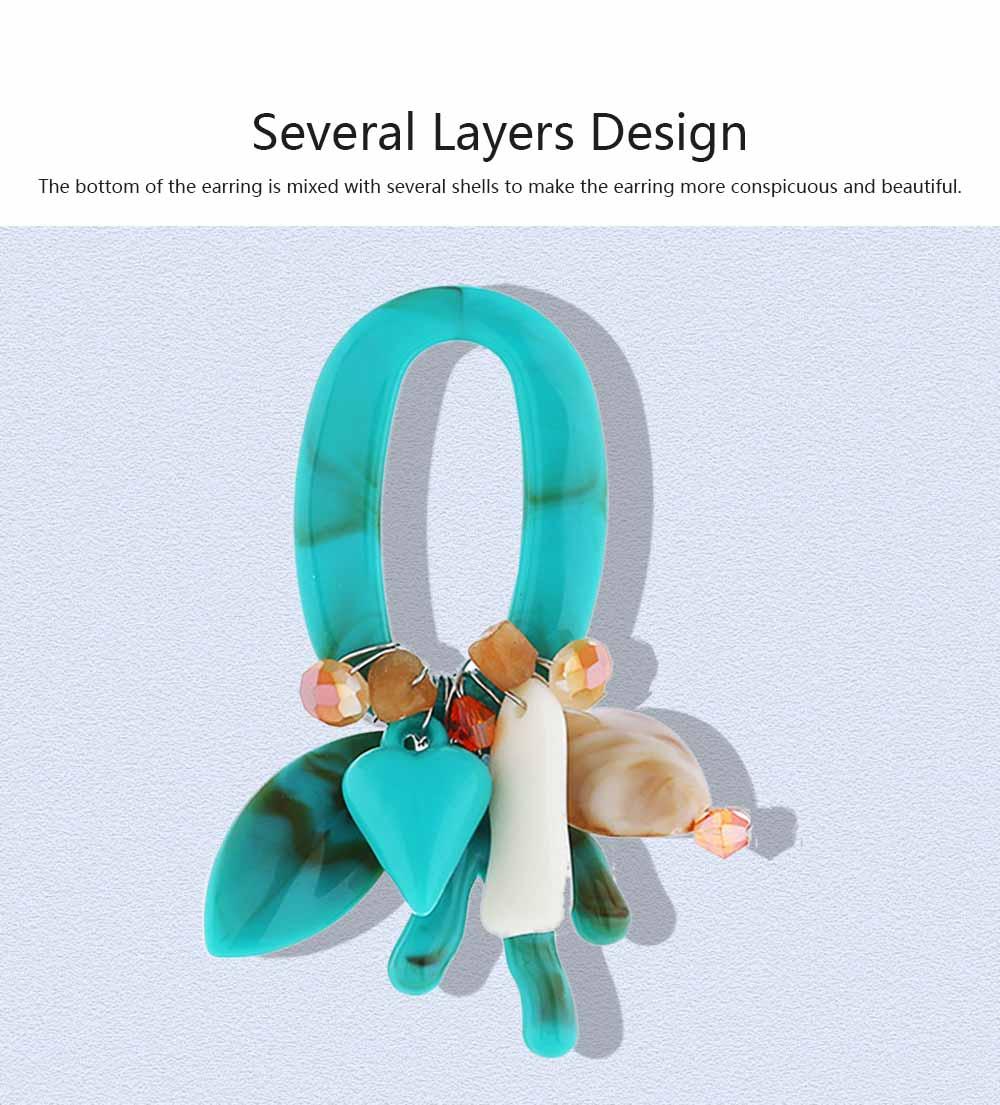 Coral Shell Earrings Plastics Zinc Alloy Material Ear Pendant Exaggerated Style Fashionable Ear Stud 4