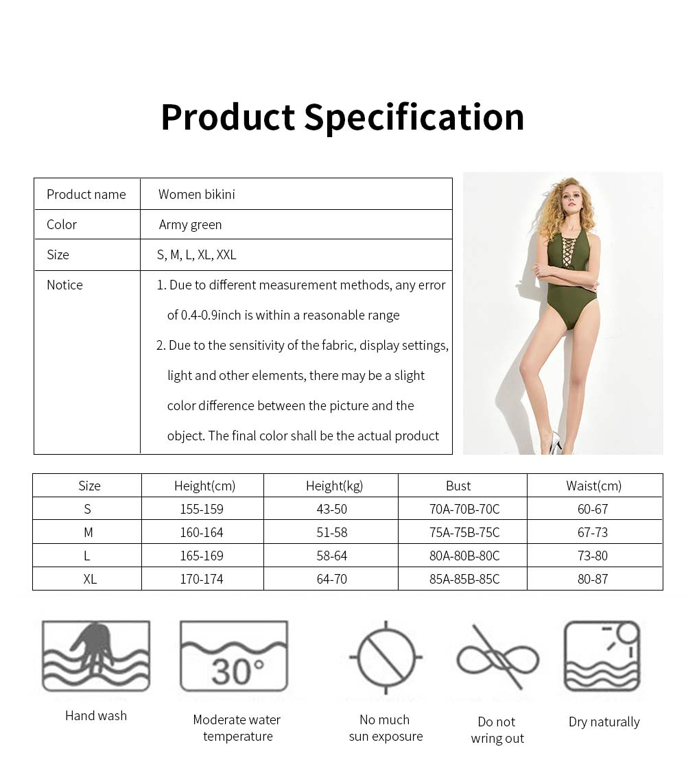 Women Bikini Front Bandage V-Neck Sexy Swimsuit One Piece Bathing Suit Beachwear with High Elasticity 6