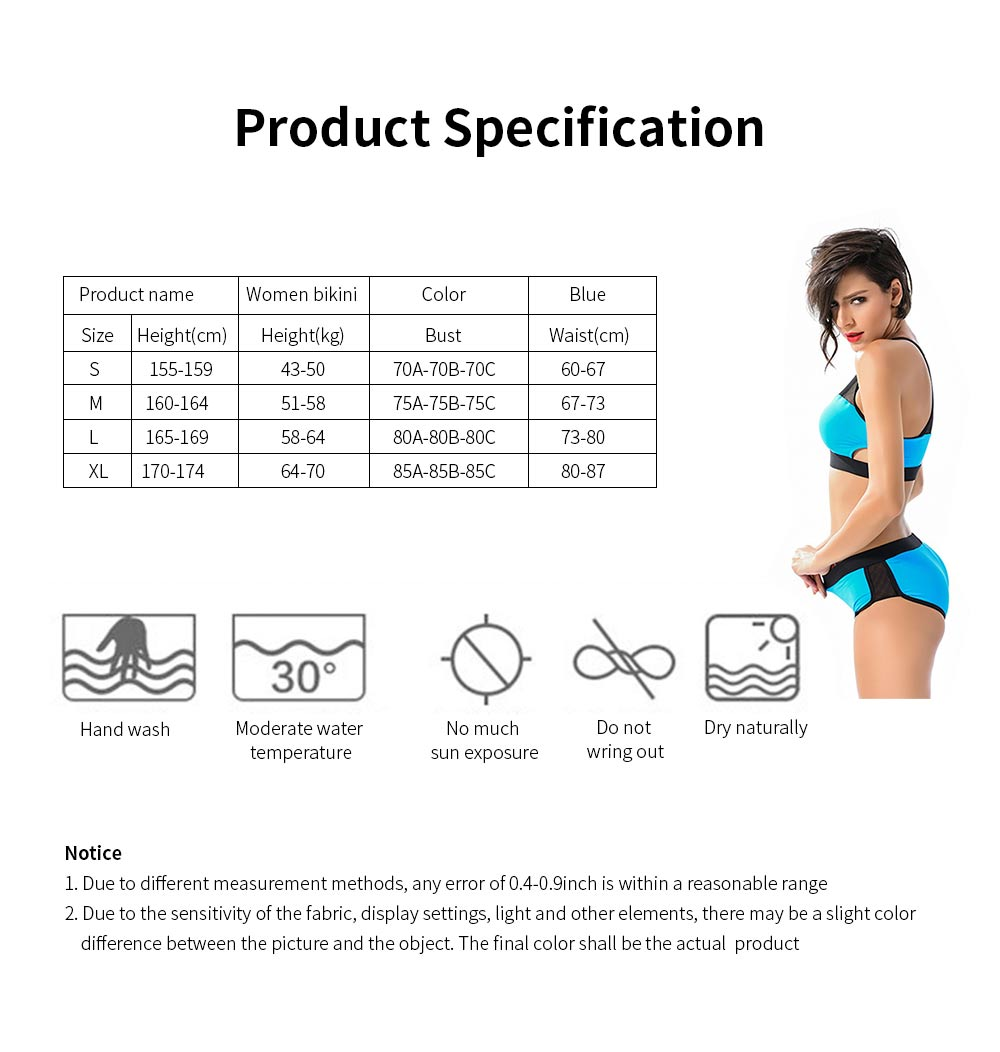 Women Sports Swimwear Swimsuit Front Mesh U-neck Casual Two Pieces Bathing Suit with High Elasticity 6