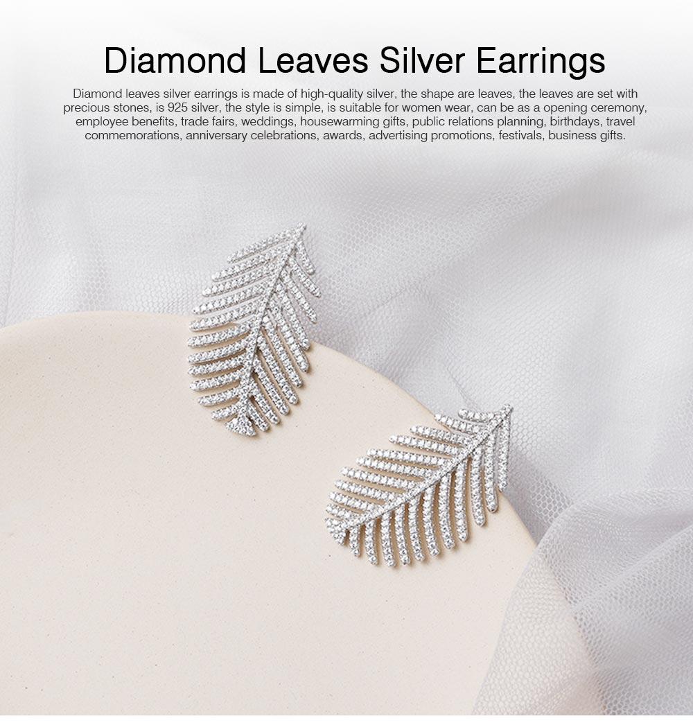 Sparkling Diamond Leaves Stud Earring 925 Pure Silver Simple Little Fresh Sweet Earrings Korean Design Stud 2019 New Earrings 0