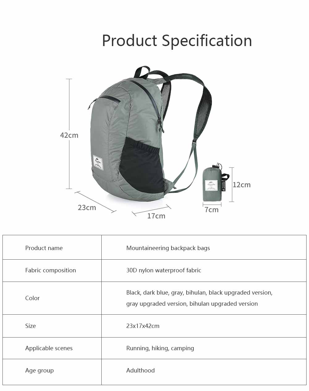 Outdoor Waterproof Sports Foldable Backpack Day Pack Portable Travel Lightweight Mountaineering Backpack Bags 8