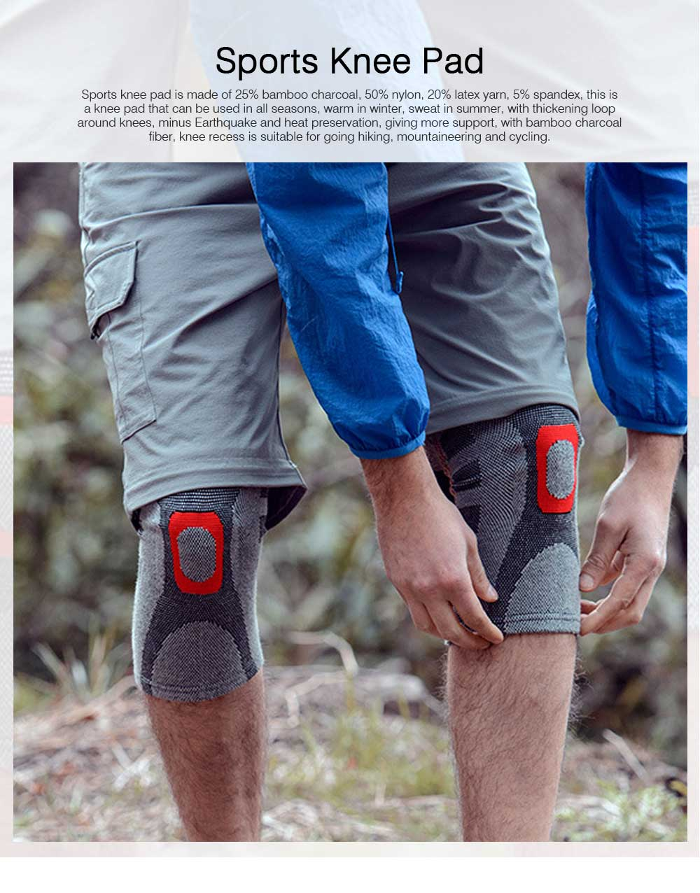 Anti-slip Sports Knee Pad Nylon High Elasticity Knee Support Guard Outdoor Mountaineering Cycling Fitness Breathable Stretch Knit Protector Gear 0