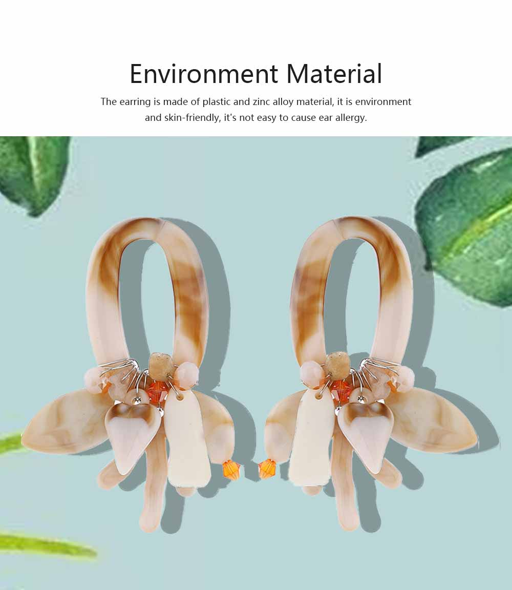 Coral Shell Earrings Plastics Zinc Alloy Material Ear Pendant Exaggerated Style Fashionable Ear Stud 1