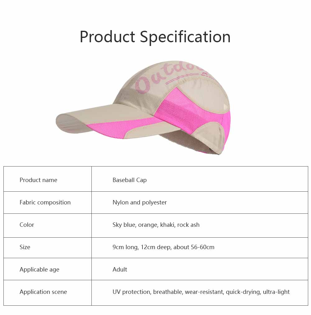 Outdoor Sport Running Baseball Mesh Hat Quick-drying Summer Visor Breathable Cap for Camping Hiking 6