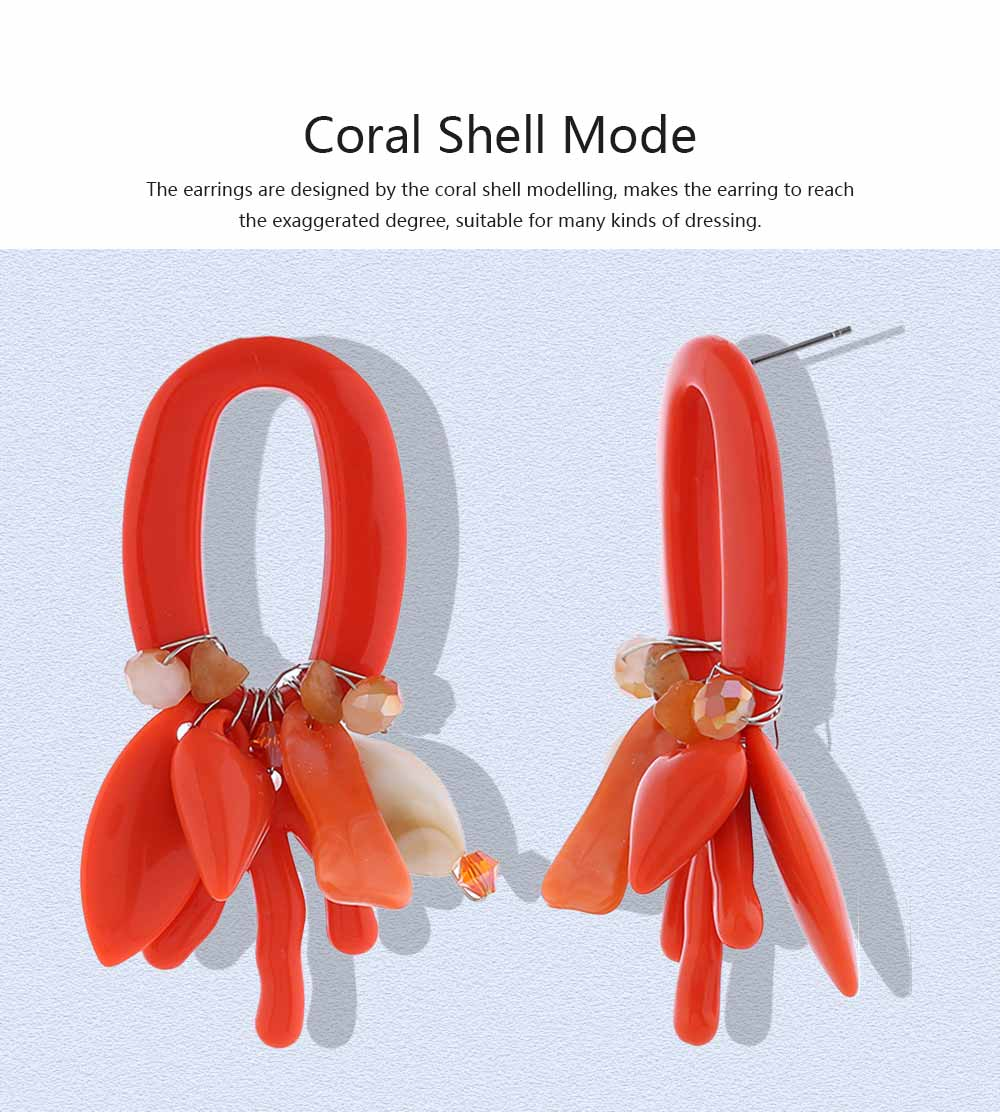 Coral Shell Earrings Plastics Zinc Alloy Material Ear Pendant Exaggerated Style Fashionable Ear Stud 2
