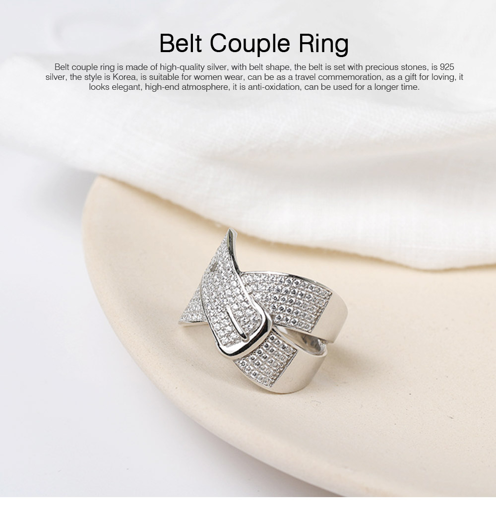 Women Men Couple New Jewelry Stone Rings 925 Silver Accessories Micro-inlay Belt Lovers Geometric 0