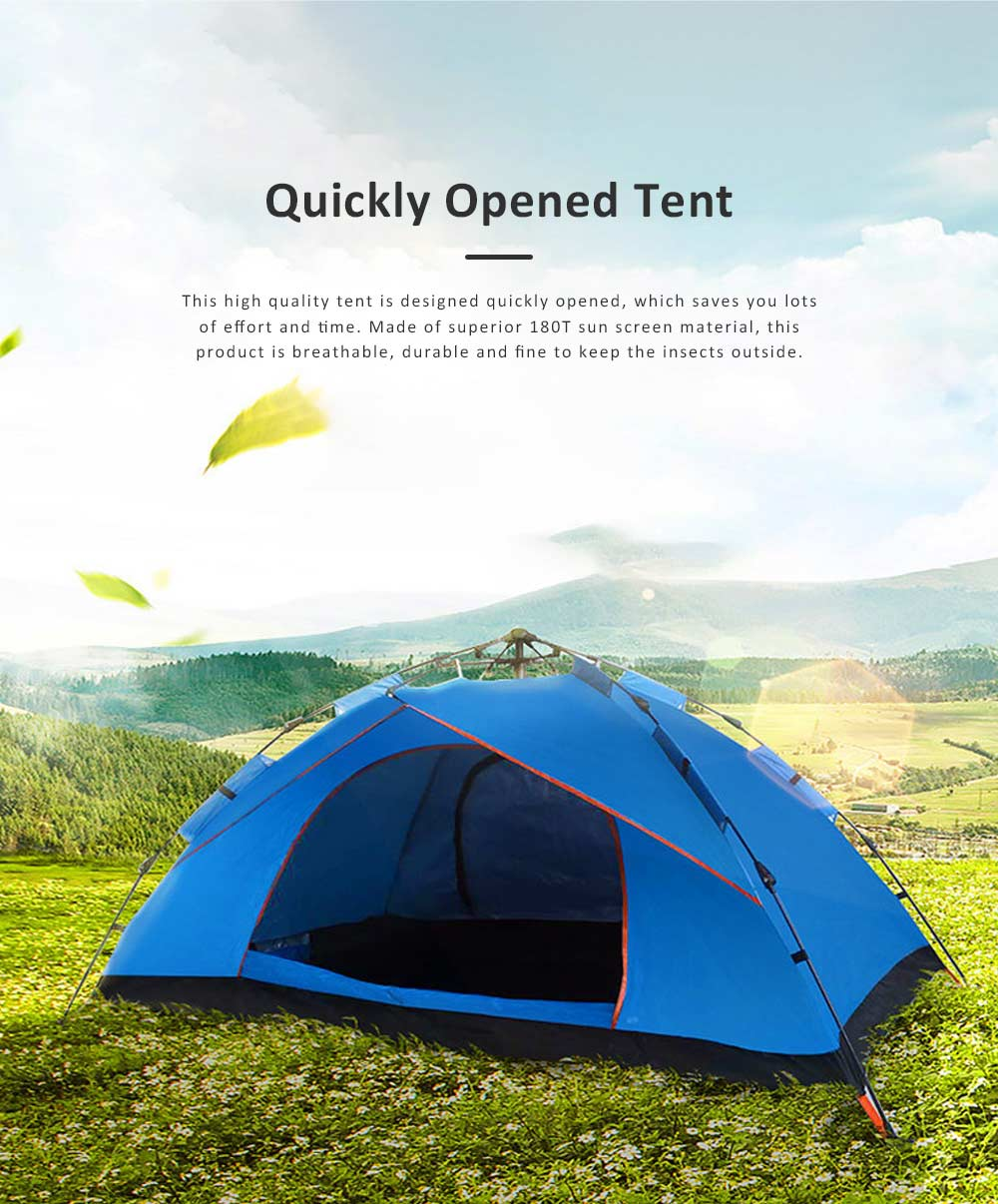 Quickly Pop Up Opening Automatically Tent for Two to Four People, High Quality 180T Sunscreen Proof Material Camping Tent for Beach Traveling Hiking 0