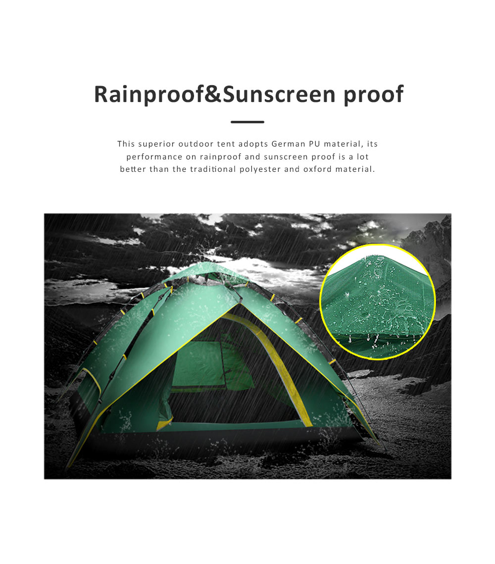 Quickly Pop Up Opening Automatically Tent for Two to Four People, High Quality 180T Sunscreen Proof Material Camping Tent for Beach Traveling Hiking 5