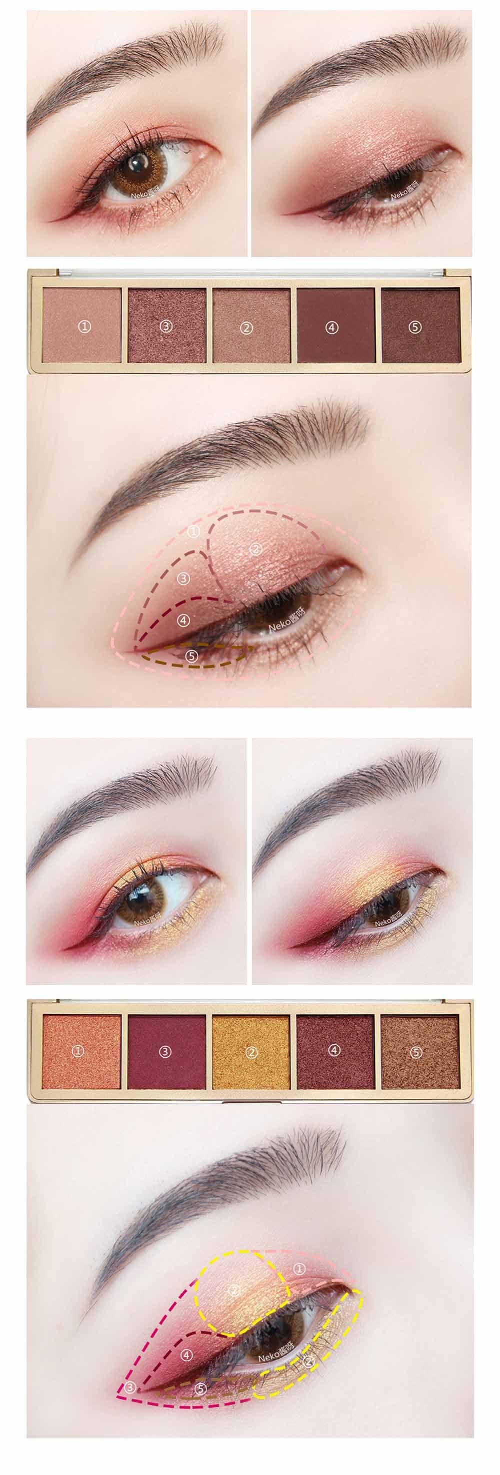 Compact Eyeshadow Palette Matte Waterproof 5 Colors Eye Makeup Natural Smoky Eye Shadow Cosmetic 7