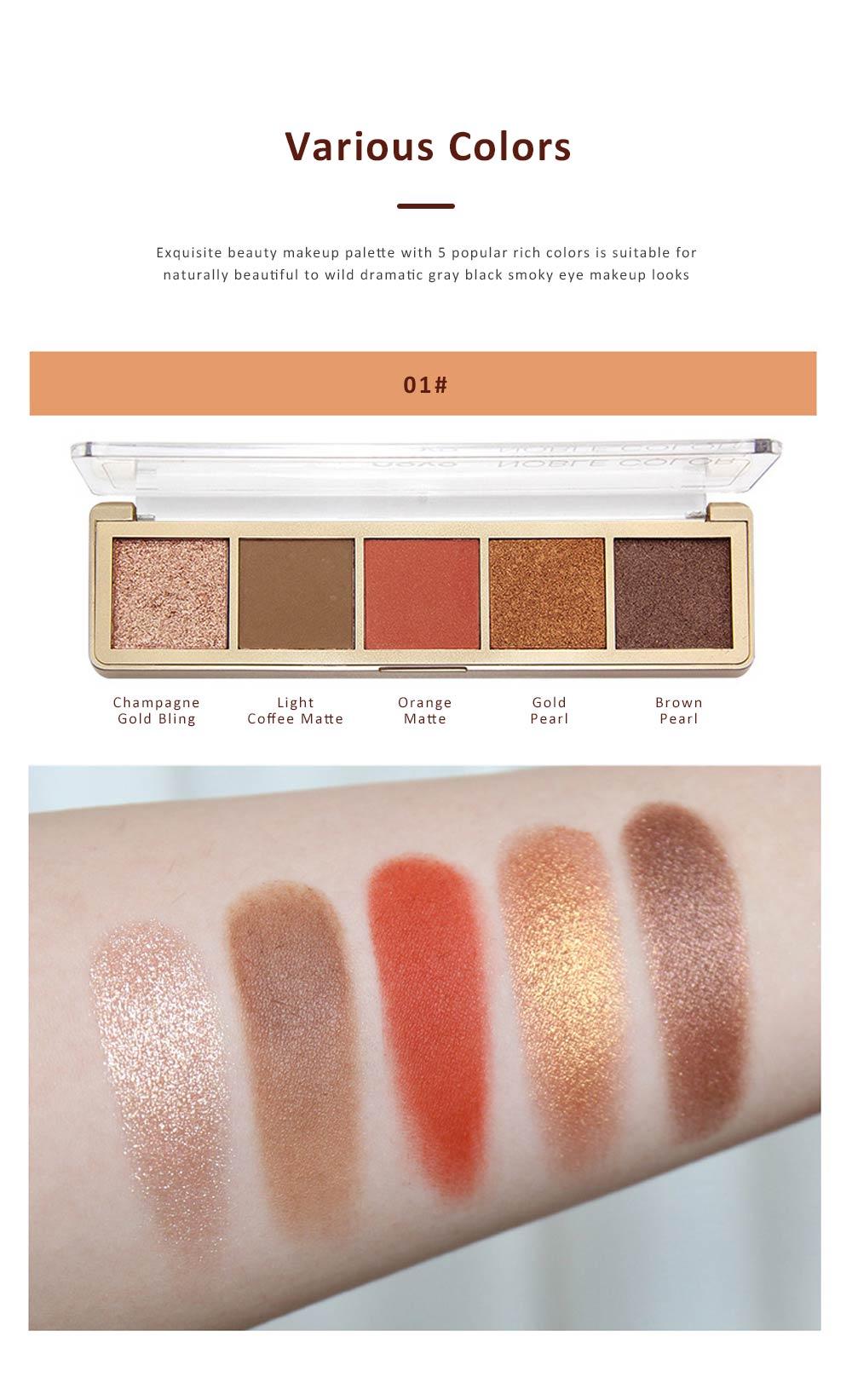 Compact Eyeshadow Palette Matte Waterproof 5 Colors Eye Makeup Natural Smoky Eye Shadow Cosmetic 1