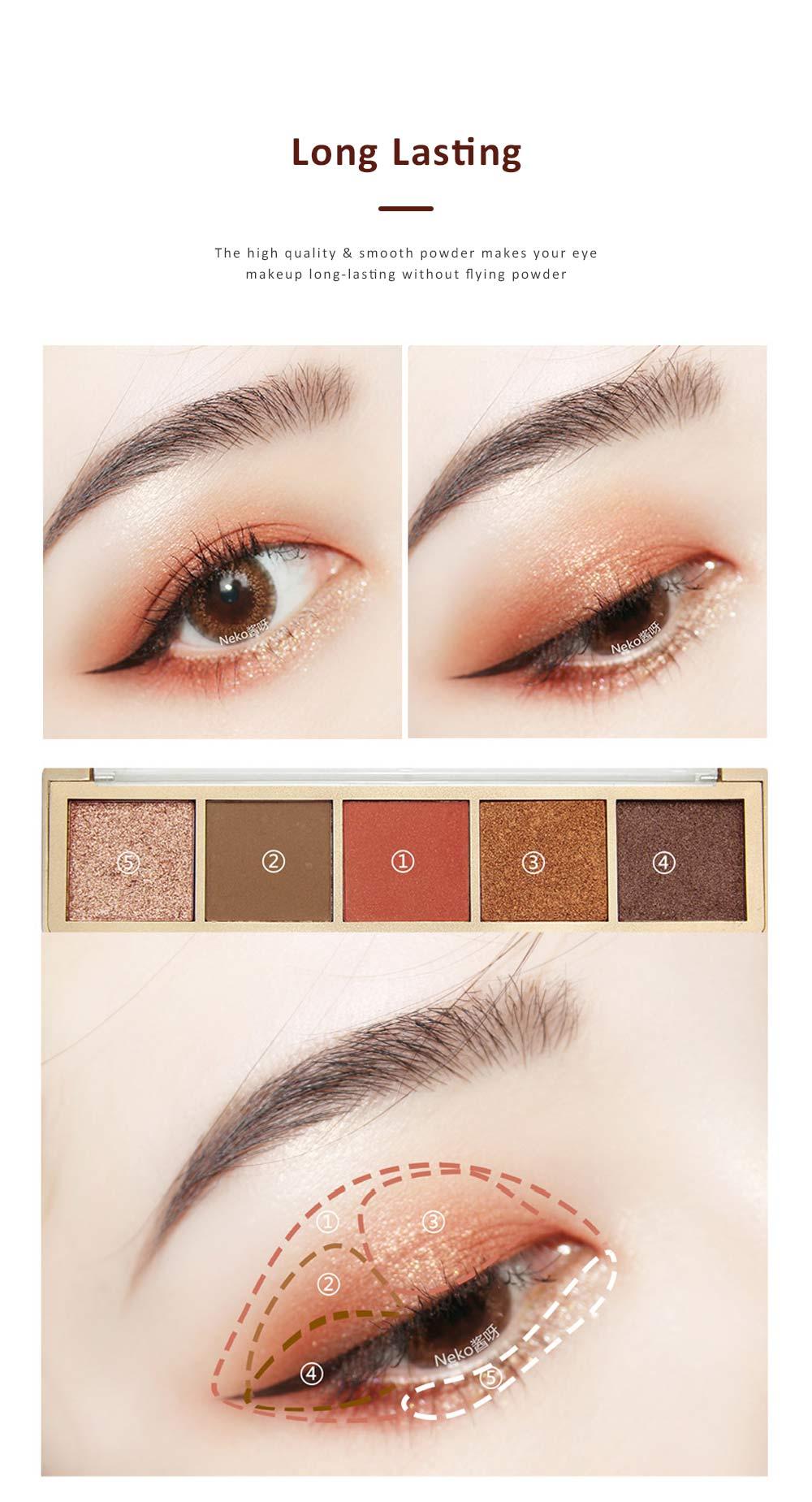 Compact Eyeshadow Palette Matte Waterproof 5 Colors Eye Makeup Natural Smoky Eye Shadow Cosmetic 6