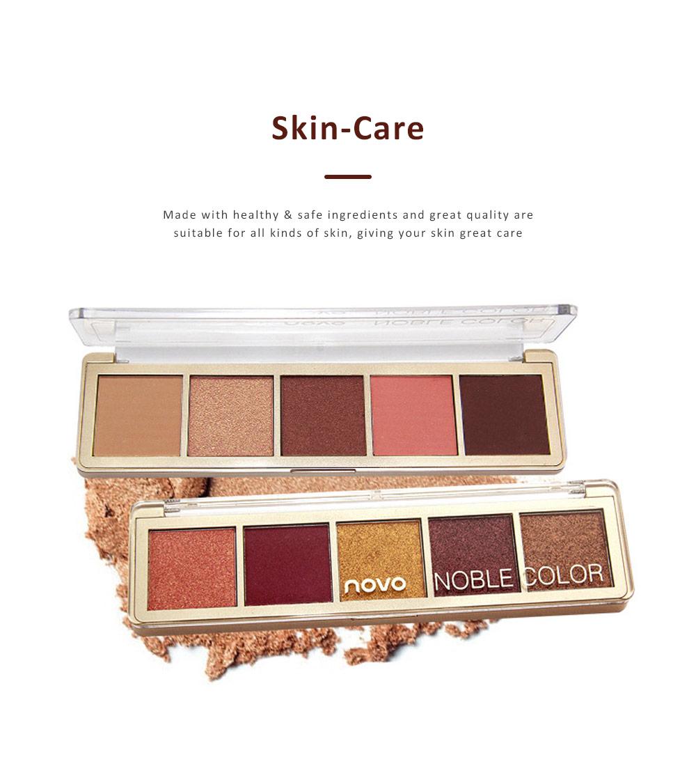Compact Eyeshadow Palette Matte Waterproof 5 Colors Eye Makeup Natural Smoky Eye Shadow Cosmetic 4