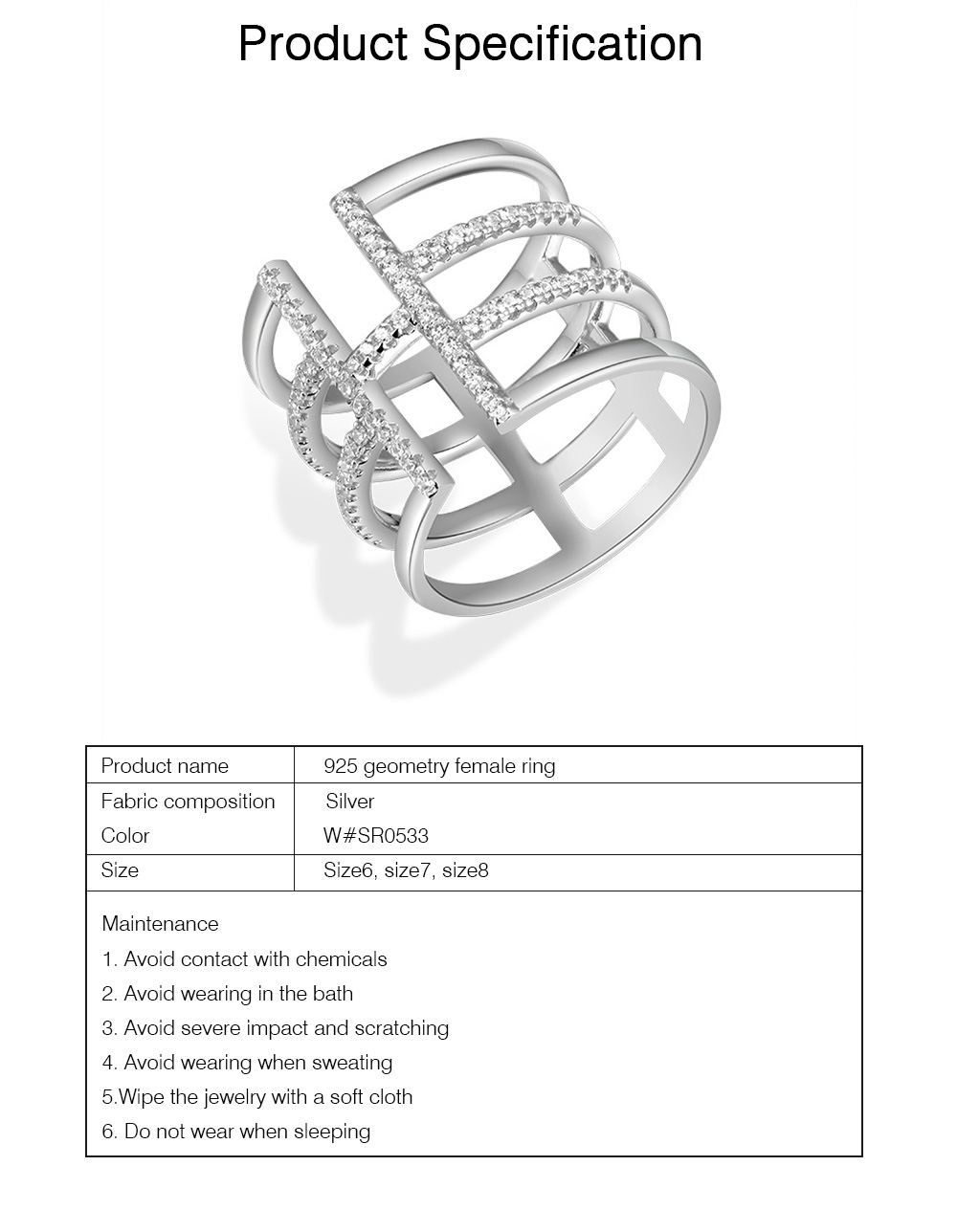 925 Silver Round Cut Cubic Zirconia CZ Open Arrow Female Engagement Ring Silver Wide Geometry Band Finger Ring 6