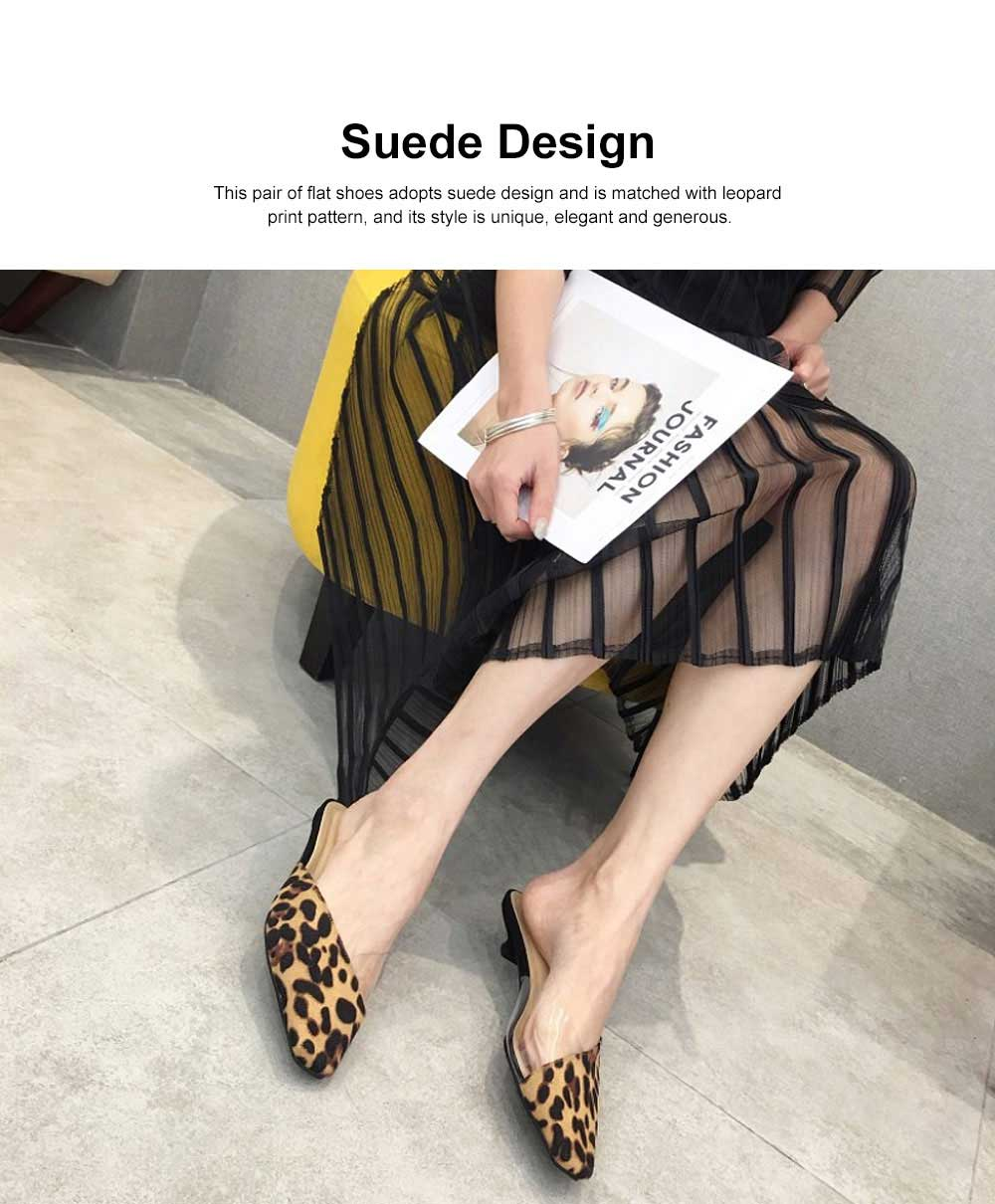 Summer Flat Shoes Ladies Fashion Slippers Leopard Tip Binding Pointed Backless Loafer Mueller Shoes 2019 New 1