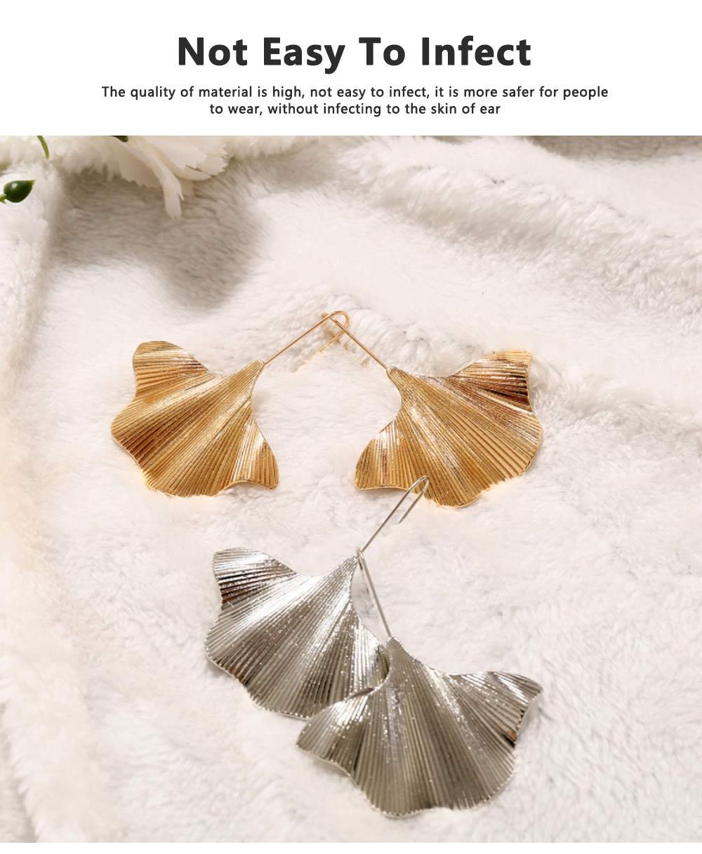 Minimalist Alloy Gold Ginkgo Biloba Leaf Simple Folded Female Hammered Creative Stud Earrings Multi Layer Acrylic Bohemian Fashion Jewellery 4