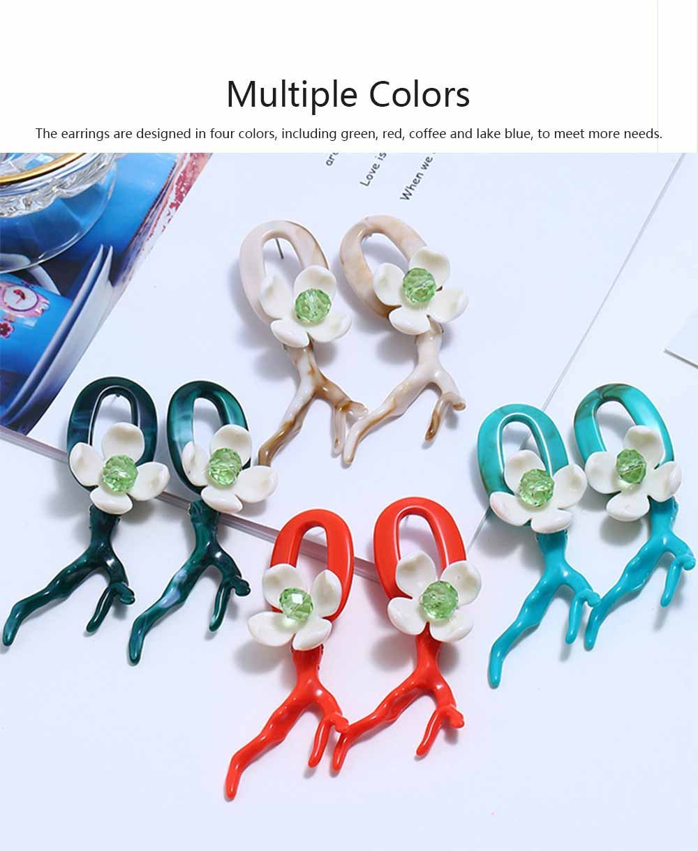 Bohemian Exaggerated Earrings Ear-drop Plastic Resin Coral Flower Decoration Ear Pendant Jewelry Allergy-resistant Smooth Earring 3