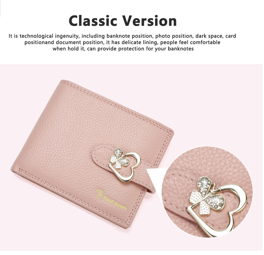 Fashion Women Wallet Girl Mini Cowhide Short Coin Leather Bow Vertical And Horizontal Purse Credit Card Holder Organizer Pocket Classic Solid 2 Fold Type 2