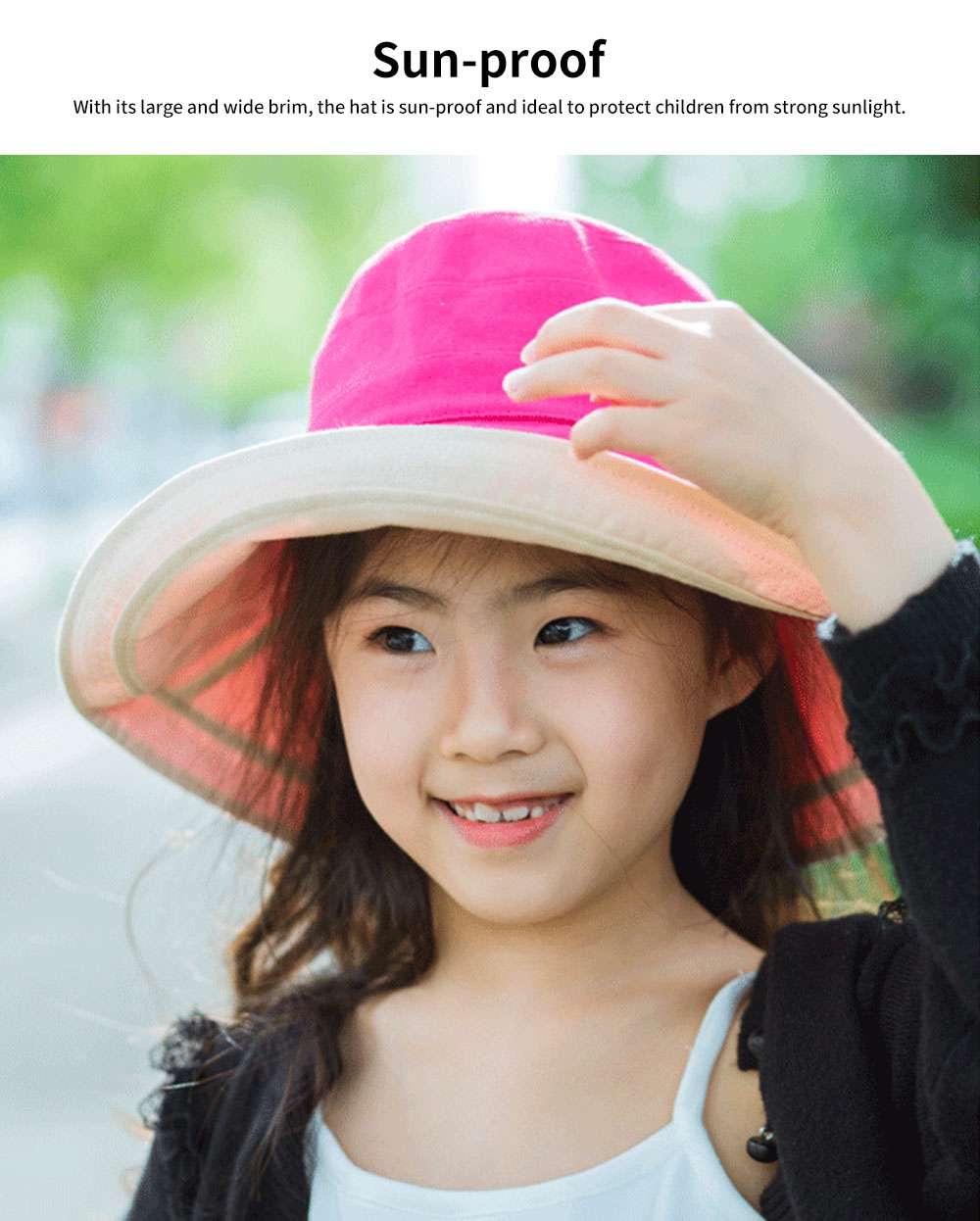 Sun-proof Bucket Hat for Children & Kids Cotton & Linen Spring Summer Sun Hat for Girls & Boys 3