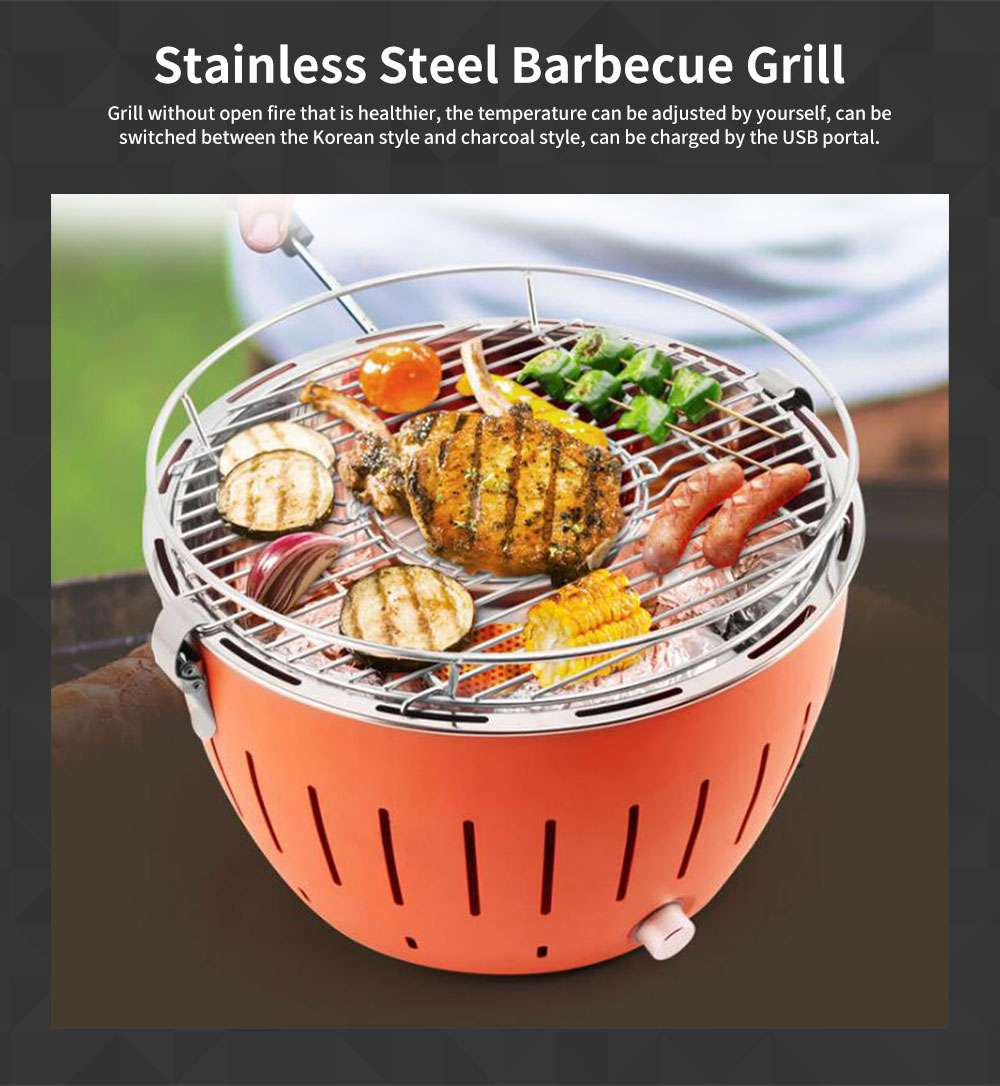 Adjustable Fine Stainless Steel Barbecue Grill Portable USB Charger Smoke-free Charcoal Korean BBQ Oven for Domestic Outdoor Use 0