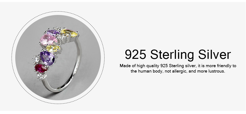Seven-coloured Women's Diamond Ring, Elegant S925 Sterling Silver Ring Jewelry for Europe and America 3