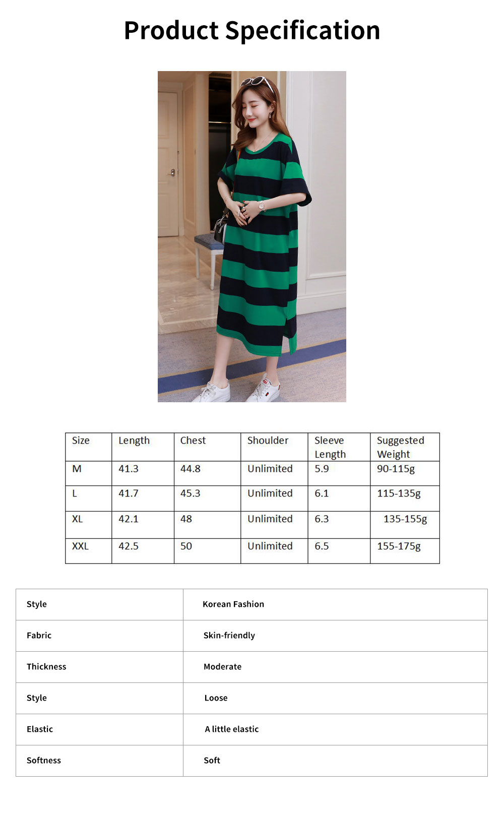 Stripe Pattern One-piece, Pregnancy Extra Large Wear, Over-size Loose Long Dress for Spring & Summer Maternity Dress 6
