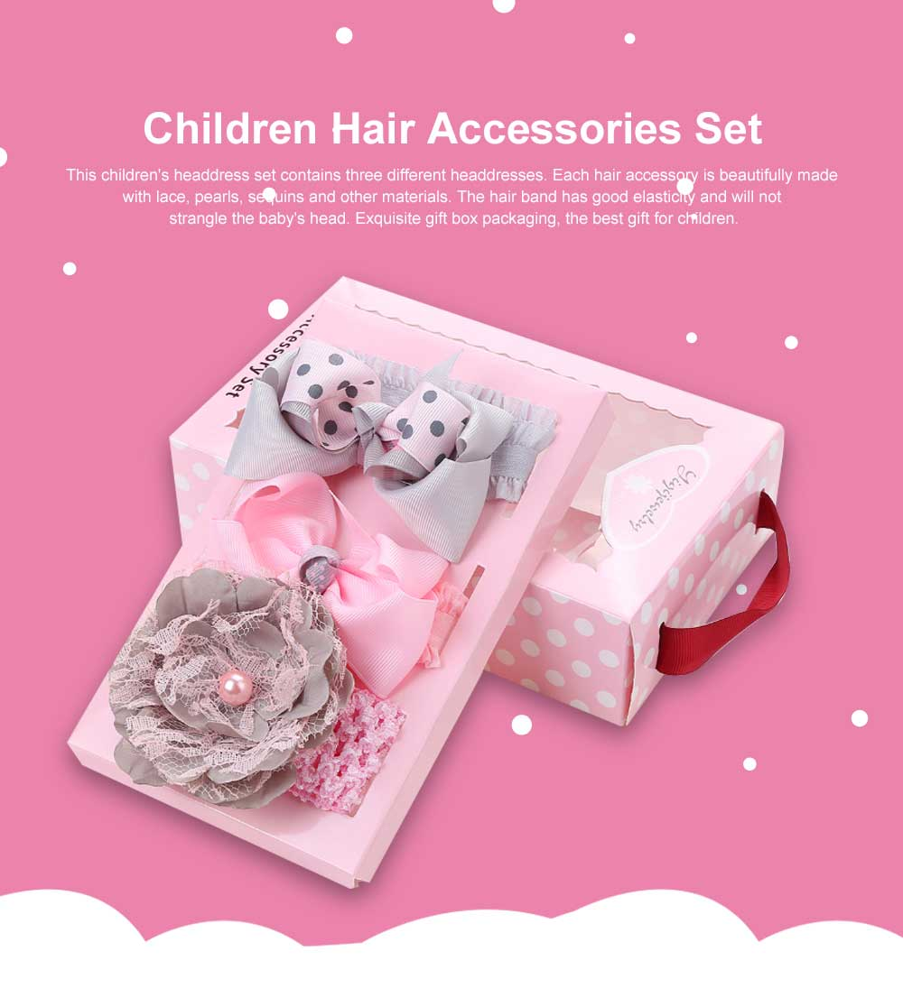 Children's Hair Band Gift Set Crown Fashion Exquisite Elasticity Bowknot Headdress Flower Hair Accessories Set 0