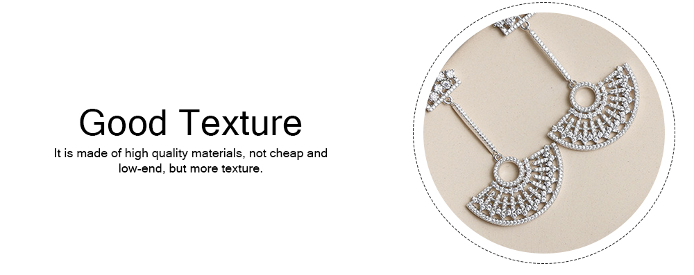 S925 Good Plating Stud Earring with Zircon Micro-inlaid, Small Fragrance Delicate Temperament Fan-shaped Tassel Ear Nails 4