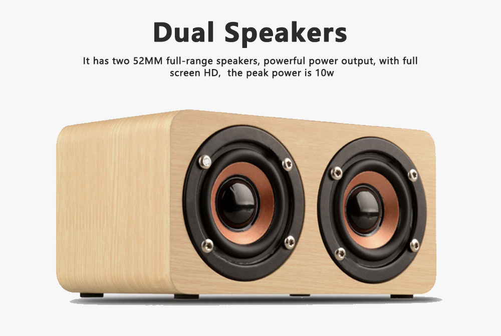 Outdoor Wood Pattern Wireless Bluetooth Speaker Portable Phone Computer Retro Radio Audio For Car Subwoofer Dual Speaker Support TF card 4