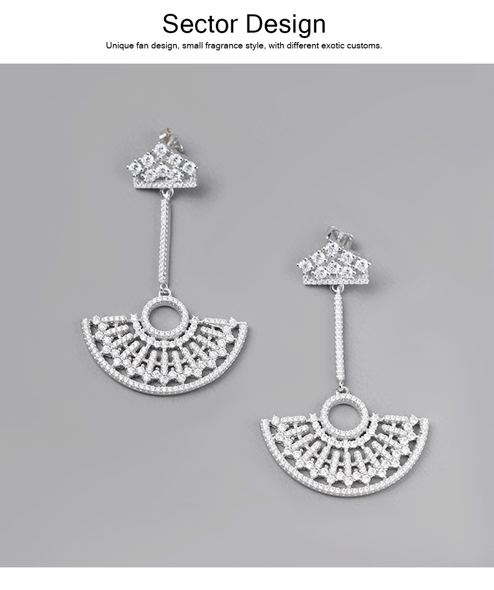 S925 Good Plating Stud Earring with Zircon Micro-inlaid, Small Fragrance Delicate Temperament Fan-shaped Tassel Ear Nails 1