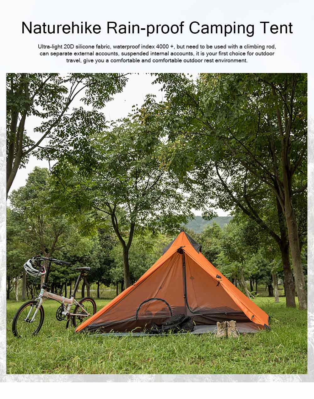 Naturehike Rain-proof Camping Tent Ultra-Light Outdoor Double-Layer Silica Single Tower Sky Tent 0