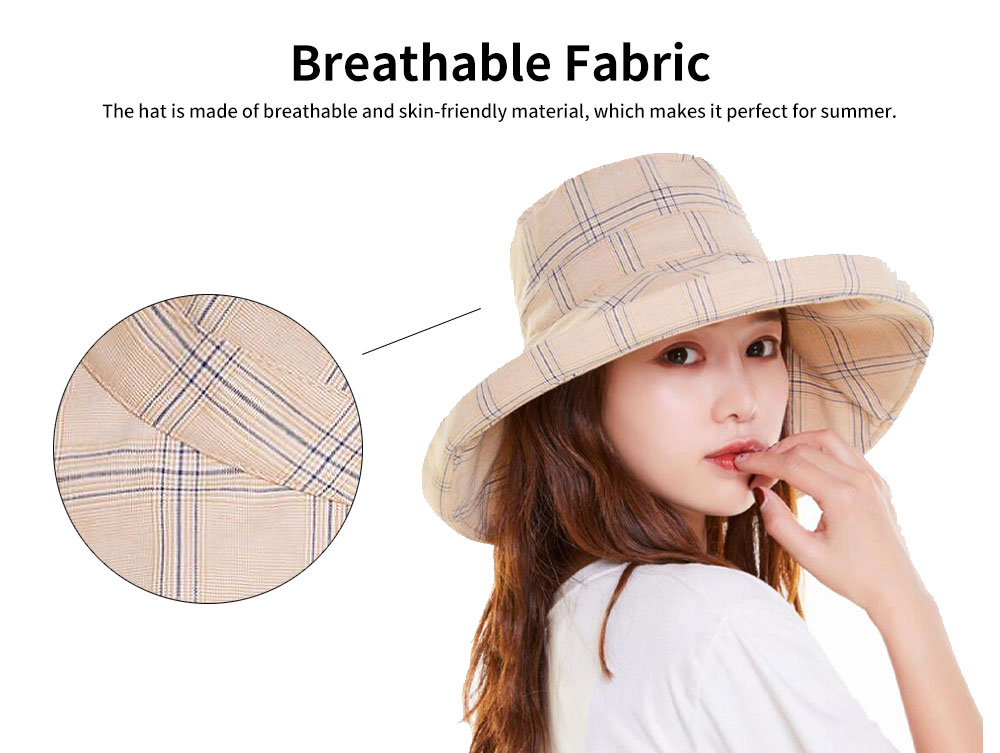 Summer Bucket Hat for Women Check Pattern Sun Hat Cap UV-protected Wind-proof & Sun-proof for Vacation Beach 1