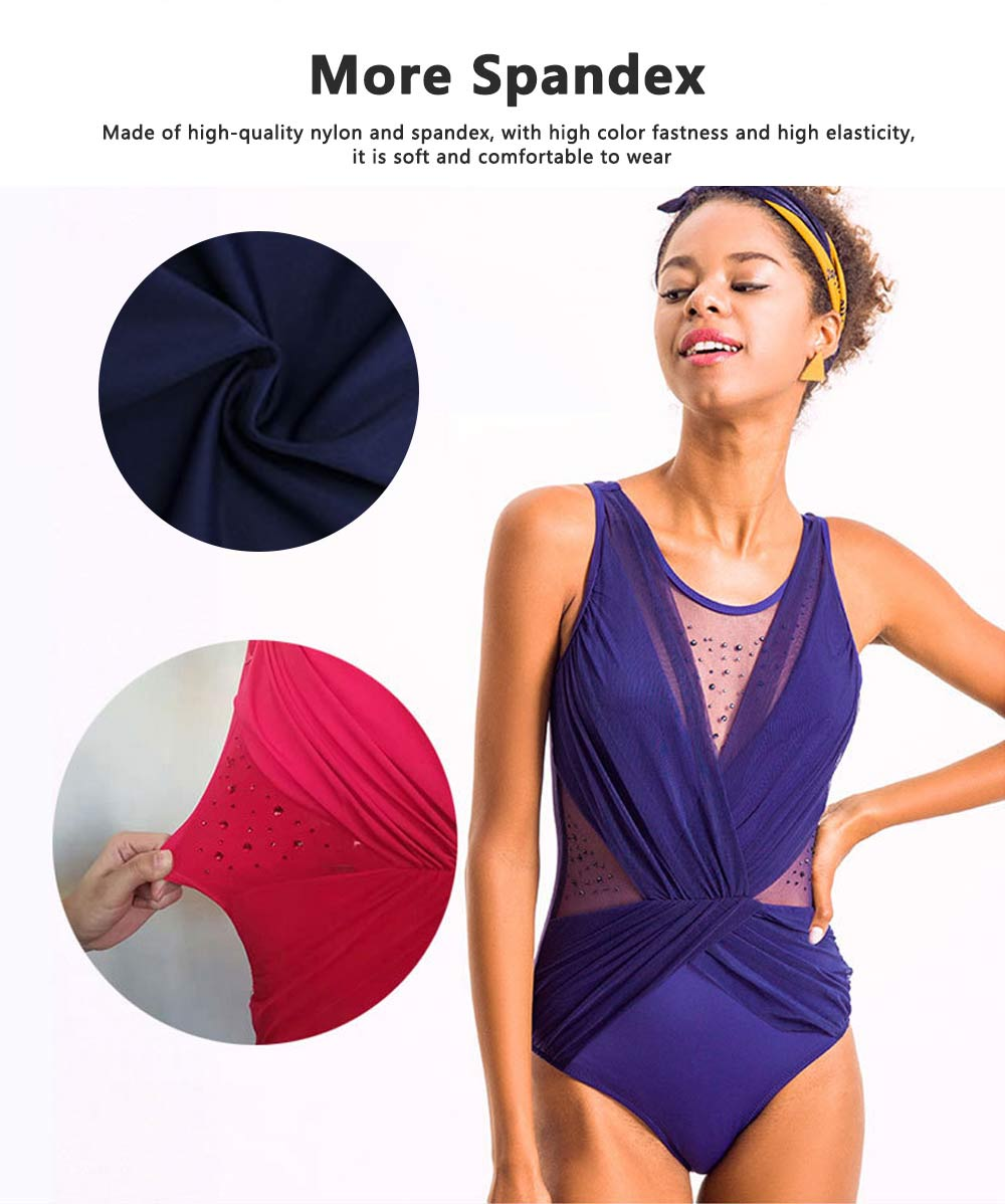 Fashionable Sexy One Piece Swimsuit Bathing Women Swimwear, Siamese Triangle Solid Color Slim Slimming Belly Suit 6 Colors Option 1