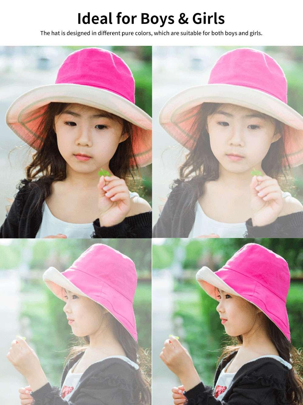 Sun-proof Bucket Hat for Children & Kids Cotton & Linen Spring Summer Sun Hat for Girls & Boys 4