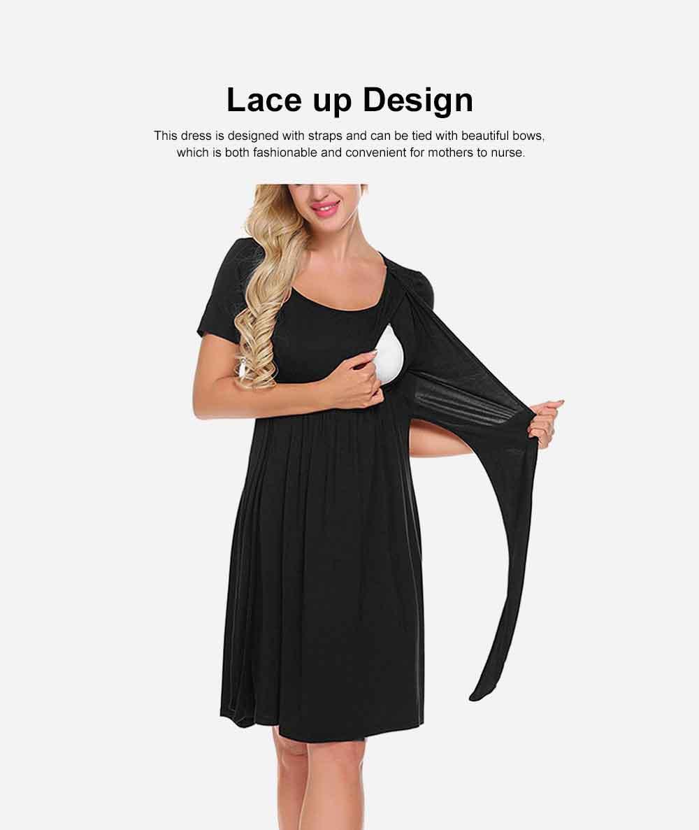 Lady's Nursing Dress Round Neck Soft Cotton Maternity Clothing Dress Fashion 2019 Summer 1