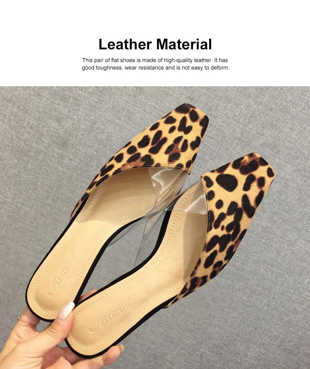 Summer Flat Shoes Ladies Fashion Slippers Leopard Tip Binding Pointed Backless Loafer Mueller Shoes 2019 New 4