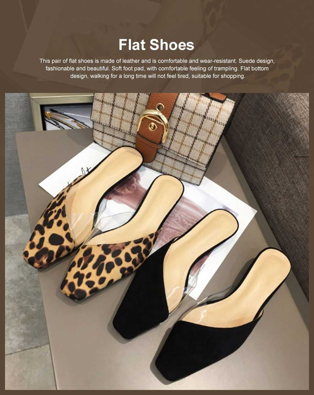Summer Flat Shoes Ladies Fashion Slippers Leopard Tip Binding Pointed Backless Loafer Mueller Shoes 2019 New 0