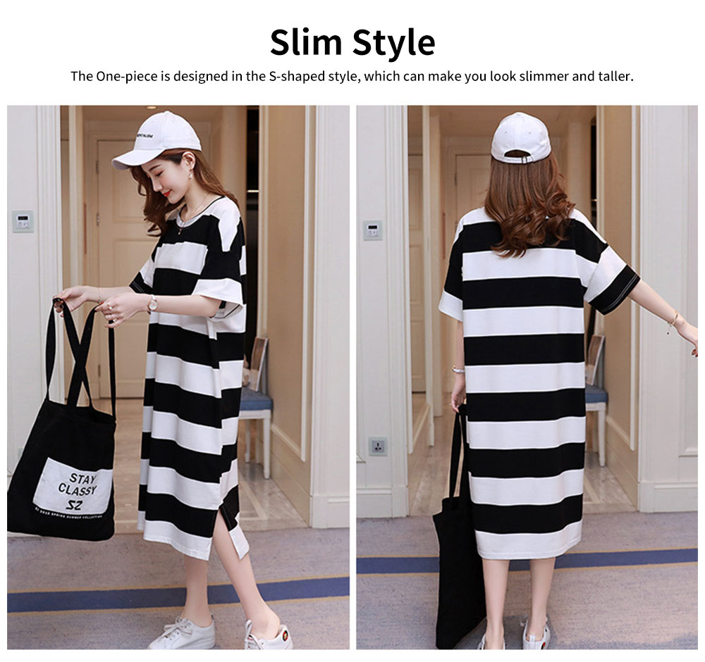 Stripe Pattern One-piece, Pregnancy Extra Large Wear, Over-size Loose Long Dress for Spring & Summer Maternity Dress 2