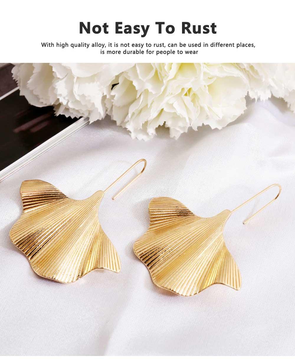 Minimalist Alloy Gold Ginkgo Biloba Leaf Simple Folded Female Hammered Creative Stud Earrings Multi Layer Acrylic Bohemian Fashion Jewellery 3