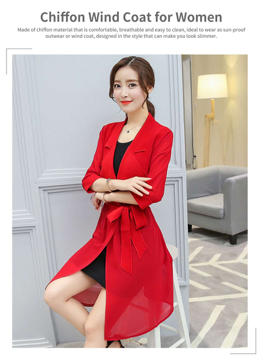 Lady Chiffon Wind Coat Mid-long Sun-proof Wind-proof Coat Sun Coat Thin Outwear with Waistband for Women 0