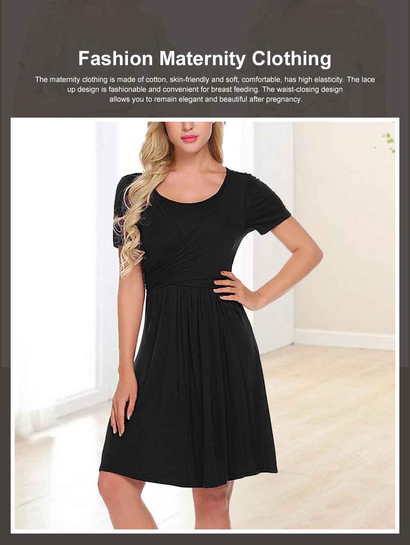 Lady's Nursing Dress Round Neck Soft Cotton Maternity Clothing Dress Fashion 2019 Summer 0