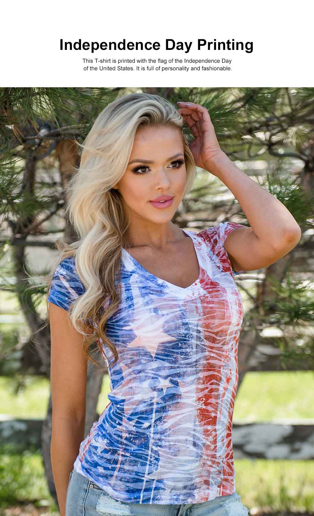 Summer Fashion V-neck Short Sleeves 2019 Women T-shirt Europe America Style Independence Day Flag Printing 1