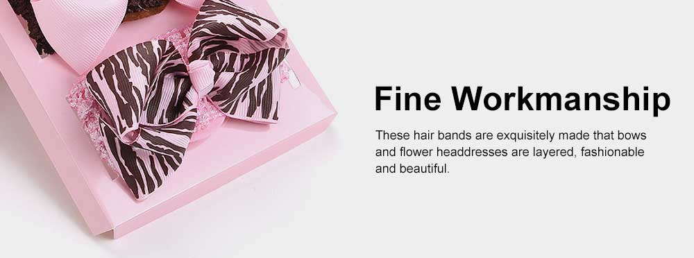 Children's Hair Band Gift Set Crown Fashion Exquisite Elasticity Bowknot Headdress Flower Hair Accessories Set 5