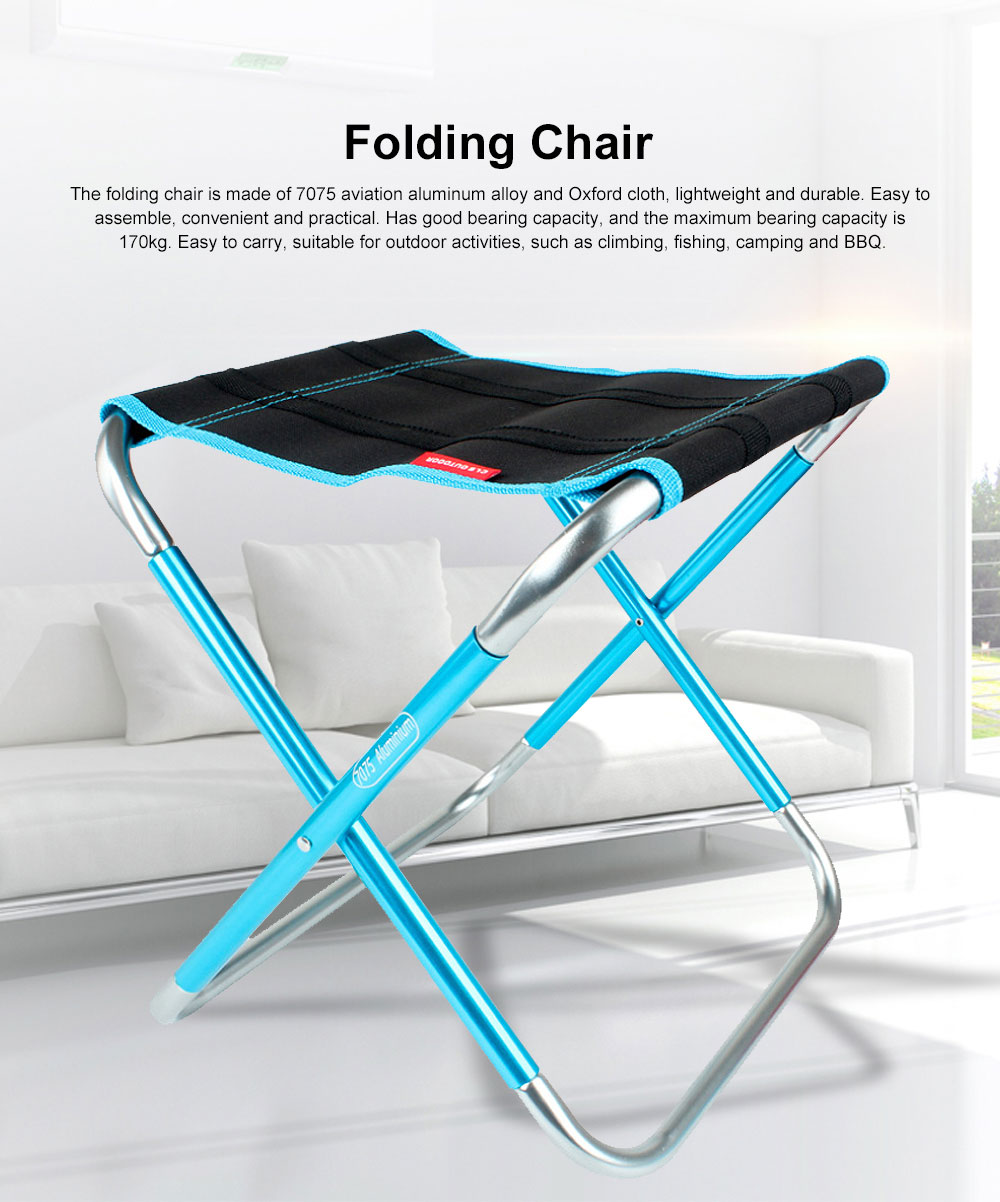 Outdoor Folding Chair Aluminum Alloy Lightweight Portable Fishing Barbecue Durable Train Chair Large Size Campstool 0