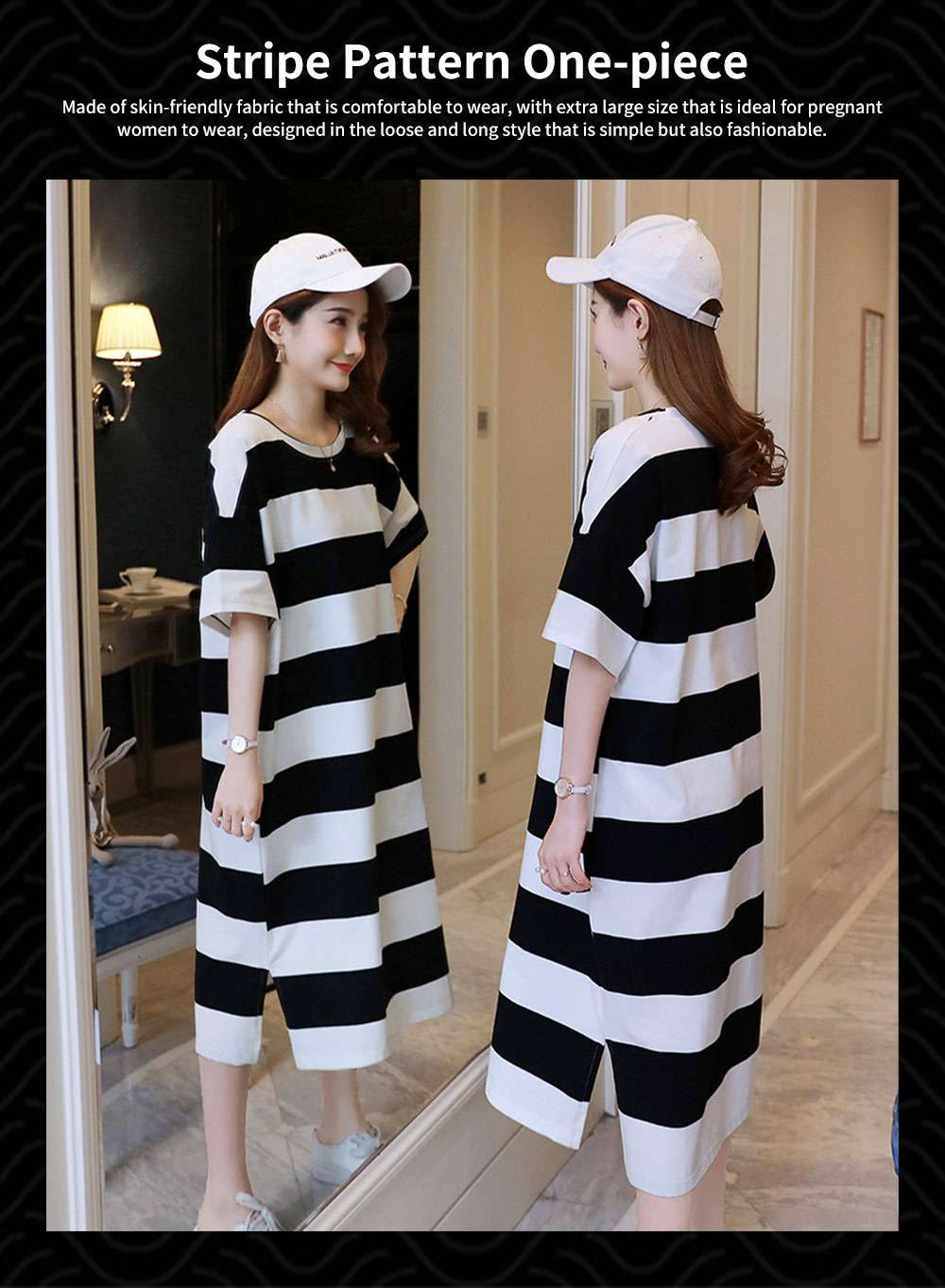 Stripe Pattern One-piece, Pregnancy Extra Large Wear, Over-size Loose Long Dress for Spring & Summer Maternity Dress 0
